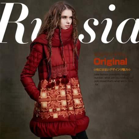 オリジナルデザイン 春新作 大人可愛い 民族風 ロシア風 抽象柄 マフラー付き 上質ダウン90% ロングダウンコート 赤 レッド 暖かい