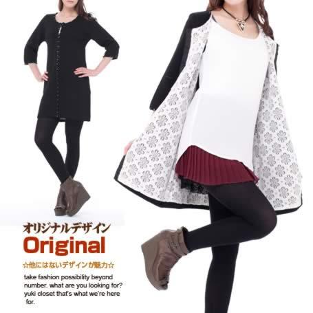 オリジナルデザイン 新作 裏地花オープンワークレースデザインのニットコート ウール混 七分袖