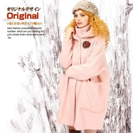 オリジナルデザイン 冬新作 大人可愛い ピンク ウール混 ロングコート アウター ひざ上丈 暖かい タートルネック フード付き