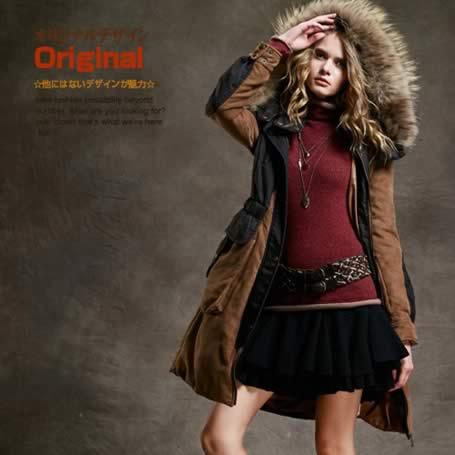 オリジナルデザイン 冬新作 リアルファーフード付き 取り外し可能 セーム革風 デニム 中綿入りコート ジャケット 厚手 暖かい 茶 ブラウン ツートンカラー 青 ブルー