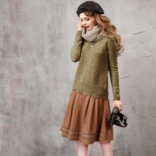 オリジナルデザイン 春新作 大人可愛い ナチュラル ウール混 ラウンドネック ニットセーター 長袖 暖かい プルオーバー グレー グリーン