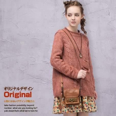 オリジナルデザイン 秋新作 冬新作 大人可愛い ナチュラル 個性的 ポケット付き 暖かい クルーネック ウール混 プルオーバー ニットセーター