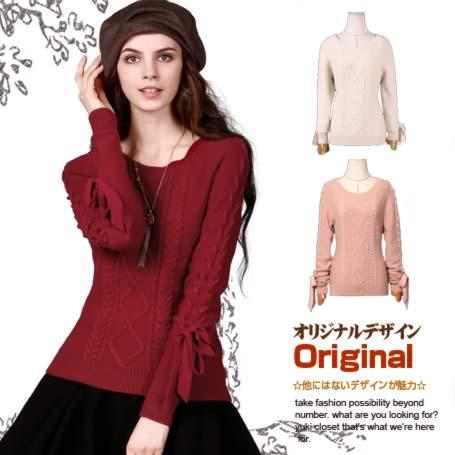オリジナルデザイン 飾り編みがアクセント!ウール100%可愛いクルーネックセーター 変形 無地 長袖 蝶結び リボン