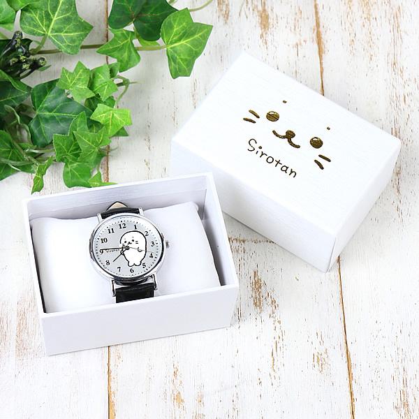 しろたん全身柄腕時計≪文字盤:白/ベルト:黒≫レディース メンズ おすすめ プレゼント キャラクター