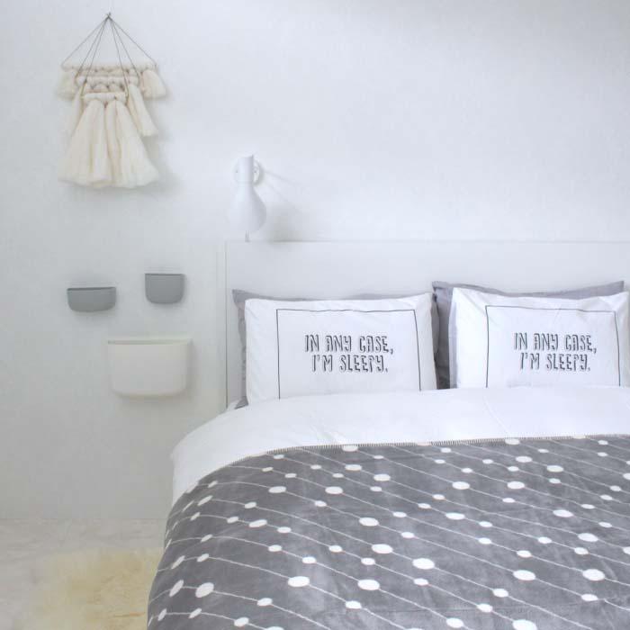 【ブランケット】【綿毛布】ラインドット コットンブランケット オフホワイト/シングルサイズ