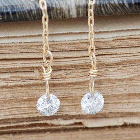 K18 K10 レーザーホール ダイヤモンド アメリカンピアス チェーンピアス ダイヤ Diamond ダイアモンド 0.16ct | ピアス レディース おしゃれ かわいい 可愛い 小ぶり 18金 10金 ジュエリー アクセサリー 揺れる