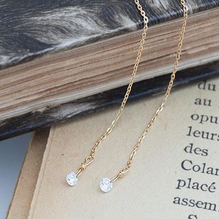K18 K10 レーザーホール ダイヤモンド アメリカンピアス チェーンピアス ダイヤ Diamond ダイアモンド 0.16ct   ピアス レディース おしゃれ かわいい 可愛い 小ぶり 18金 10金 ジュエリー アクセサリー 揺れる