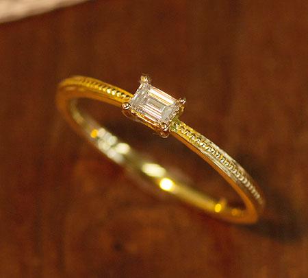 指輪 K18 K10 バゲットカット ダイヤモンドリング アンティークコレクション ダイヤモンド 0.12ct   レディース 誕生石 18金 10金 贈り物 プレゼント 重ね付け 記念日 アニバーサリー