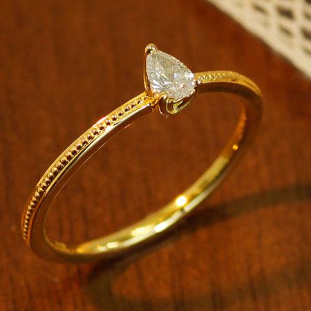 送料無料 指輪 K18 K10 ペアシェイプ ドロップシェイプ ダイヤモンドリング アンティークコレクション ダイヤモンド 0.13ct リング | レディース 誕生石 18金 10金 贈り物 パーティー お呼ばれ プレゼント 重ね付け 記念日