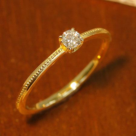 送料無料 指輪 K18 K10 ラウンド ダイヤモンドリング アンティークコレクション ダイヤモンド 0.12ct ダイヤ リング| レディース 誕生石 18金 10金 贈り物 パーティー お呼ばれ プレゼント 重ね付け 誕生日