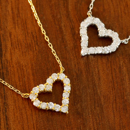 K18 ゴールド オープンハート ダイヤモンドネックレス 0.2ct ハート ダイヤ ネックレス ダイアモンド | 18K 18金 ジュエリー システィーナ リリコ 大人 レディース 天然石 結婚 結婚式 ウェディング