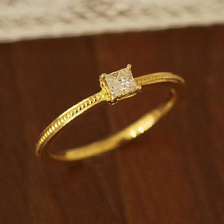 送料無料 指輪 プリンセスカット ダイヤモンドリング アンティークコレクション ダイヤモンド 0.13ct リング| レディース ジュエリー 誕生石 K18 K10 18金 10金 贈り物 パーティー お呼ばれ プレゼント 重ね付け
