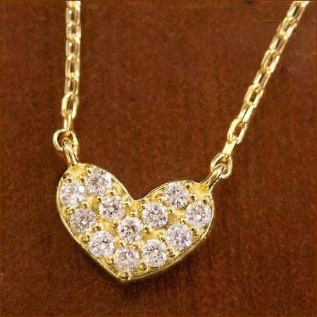 【スーパーSALE】 ハート ダイヤモンド パヴェ ダイヤネックレス 0.1ct ネックレス   K10 K18ジュエリー システィーナ リリコ かわいい 大人 女性 地金 結婚 結婚式 ウェディング あす楽 ハート型