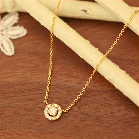 送料無料 ダイヤモンド ヘイローネックレス 0.2ct ネックレス 取り巻き ダイヤ | ジュエリー システィーナ リリコ  大人 女性 地金 シンプル 天然石 結婚 結婚式 ウェディング 贈り物 あす楽