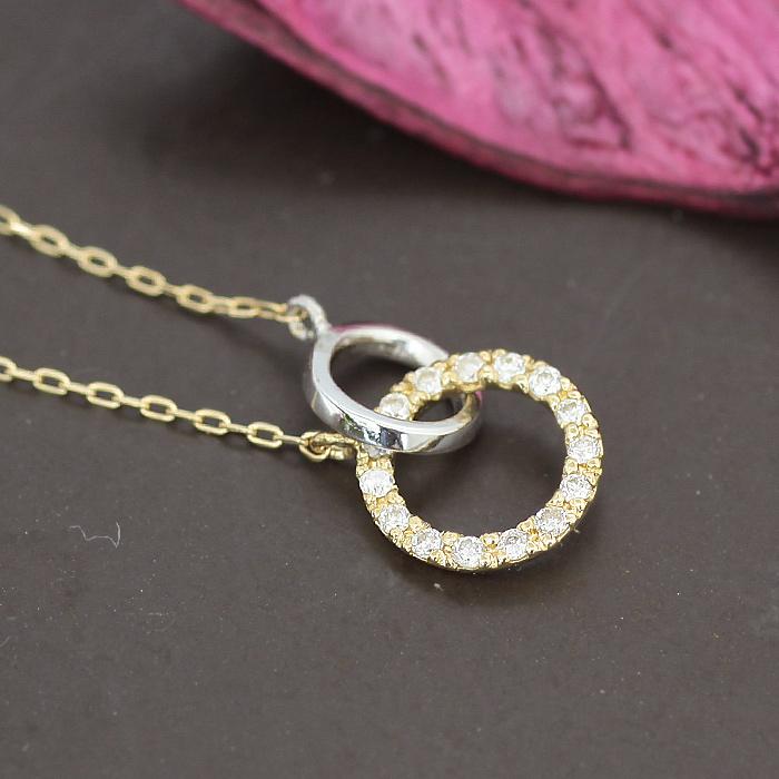 送料無料 K10 K18 ダブルループネックレス ダイヤモンド 0.07ct ネックレス ダイヤ | ジュエリー システィーナ リリコ  大人 女性 地金 シンプル 天然石 結婚 結婚式 ウェディング 贈り物 あす楽