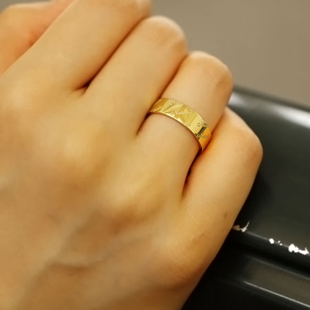 指輪 刻印 K18 K10 ネームリング L 幅5mm 名入れ メッセージリング オーダージュエリー ネーム オリジナル | レディース ペア 贈り物 パーティー お呼ばれ プレゼント おしゃれ 可愛い 重ね付け