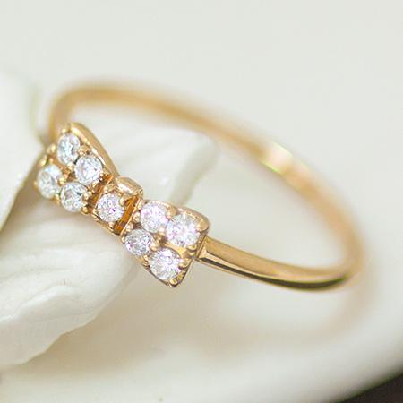 送料無料 K18 K10 指輪 リング ダイヤモンド リボン 0.15ct パヴェダイヤ 華奢 大人 | レディース ジュエリー 贈り物 プレゼント 重ね付け モチーフ 記念日