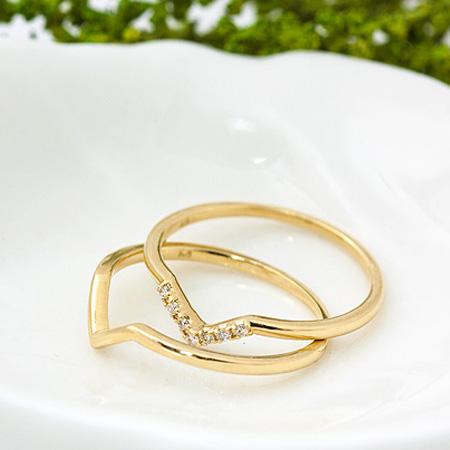 バレンタイン 指輪 リング  ゴールド ダイヤモンド V字 重ね付け 2本 セットリング Kite カイト 0.03ct ダイヤ| レディース ジュエリー 18金 10金 18K 10K 贈り物 プレゼント 重ね付け