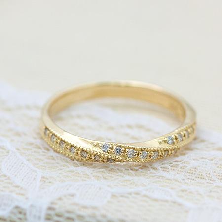 【 送料無料 】ツイストリング Flux フリュ 0.1ct ミル 地金リング ウェーブリングリング 指輪 ダイヤモンド ダイヤ | レディース ジュエリー K18 K10 18金 10金 贈り物 プレゼント 重ね付け