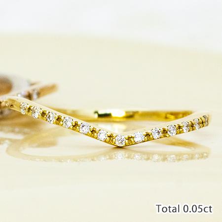 【スーパーSALE】指輪 ダイヤモンドリング Line Vライン V字 エタニティリング ダイヤ ピンキー リング 華奢 | レディース ジュエリー K18 18金 贈り物 プレゼント 重ね付け