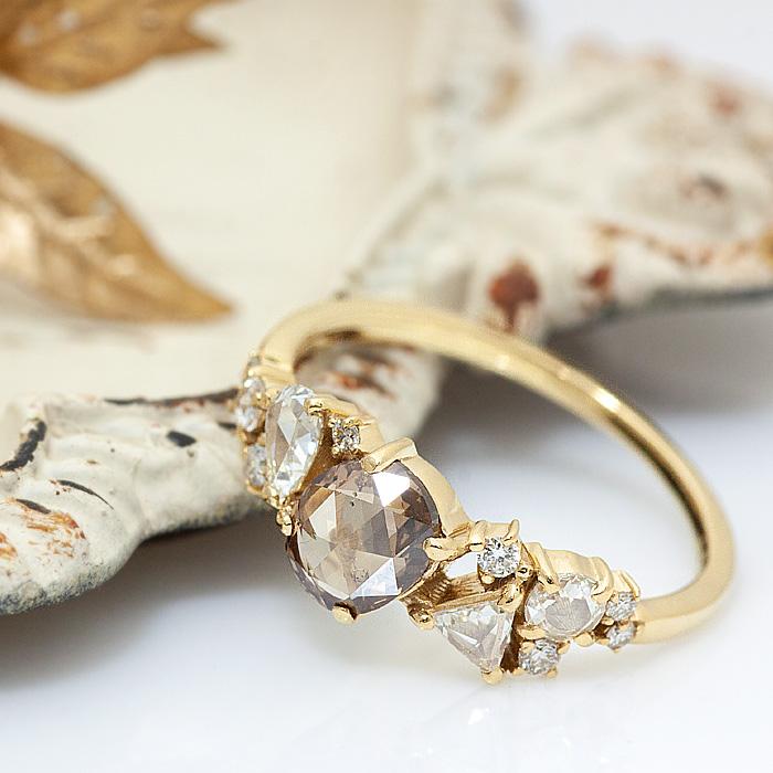 限定1点 K18 ローズカットダイヤ リング 指輪 ブラウンダイヤモンド ダイヤリング 0.94ct ファンシーシェイプ メランジ ランダム   ジュエリー レディース 華奢 結婚 結婚式 ウェディング 誕生日 プレゼント 贈り物 【あす楽】