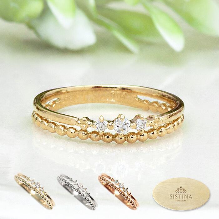 【スーパーSALE】ピンキーリング 18K 10K - Tiara - ティアラ K10 K18 ダイヤリング ダイヤモンド 指輪 アミュレット 華奢 ピンキー リング ダイヤ | レディース ジュエリー 18金 10金 プレゼント 重ね付け