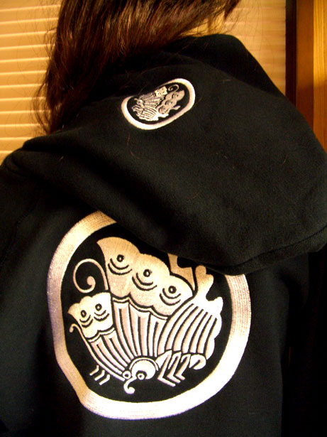 家紋ジップパーカー GIRL女性サイズ送料無料黒刺繍和柄揚羽蝶レディースSMzVpU