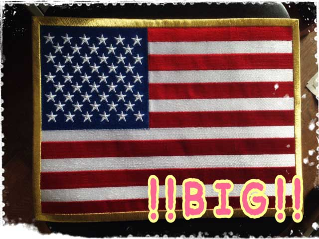 100% Made in JAPAN本格刺繍 当店最大サイズ 人気ブランド アメリカ国旗ワッペン ネコポス不可 USA 星条旗 超人気 専門店 37cm 刺繍 アイロン接着付