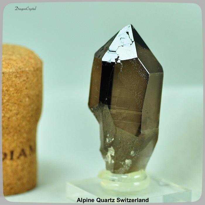アルプス水晶 スイス産 モリオンスモーキークォーツ レコードキーパー(魔法の刻印)
