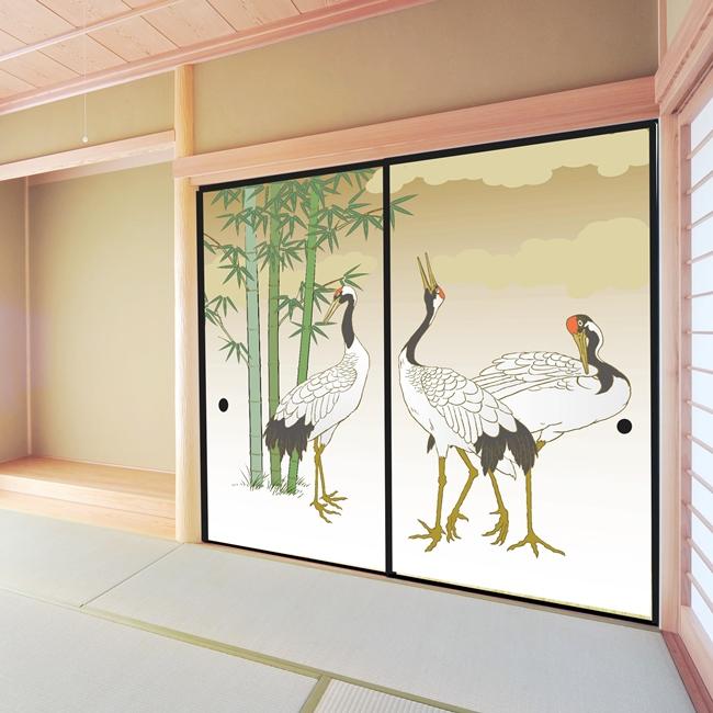 デザイン襖紙 「鶴」 2枚組  (襖/ふすま/ふすま紙/モダン/和紙/オシャレ/張替)