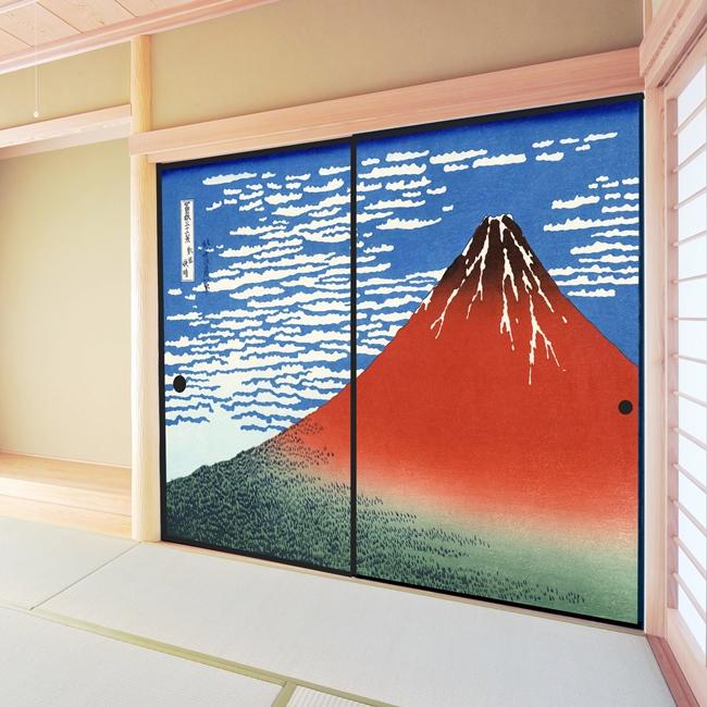 デザイン襖紙 「赤富士」 2枚組  (襖/ふすま/ふすま紙/モダン/和紙/オシャレ/張替)