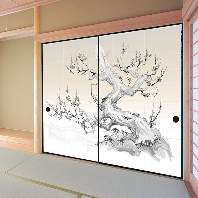 デザイン襖紙 (襖/ふすま/ふすま紙/モダン/和紙/オシャレ/張替) 2枚組 「老梅」