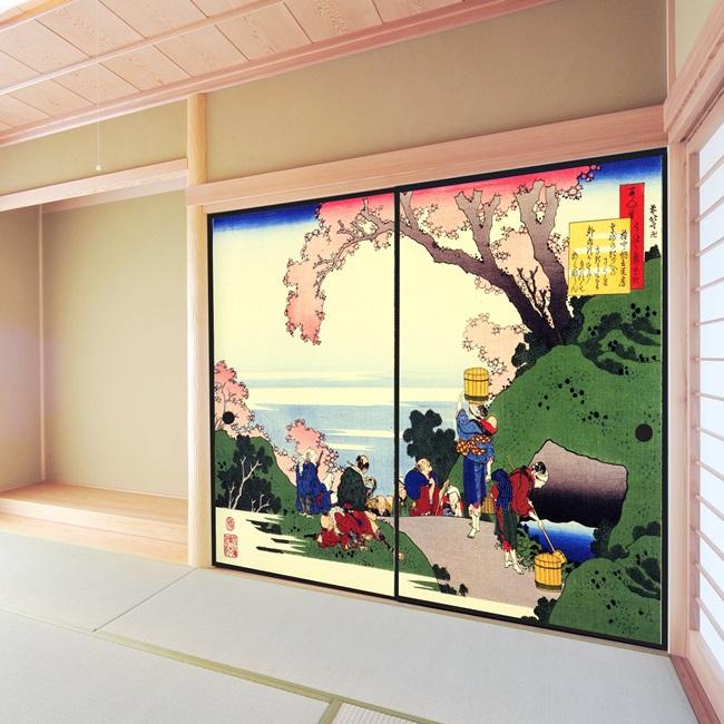 デザイン襖紙 「春の景色」 2枚組  (襖/ふすま/ふすま紙/モダン/和紙/オシャレ/張替)