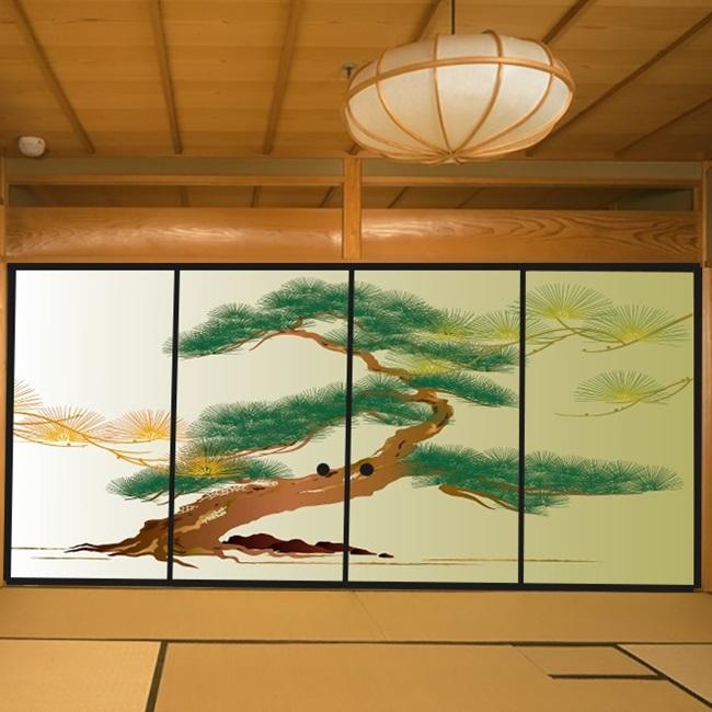 デザイン襖紙 「松」 4枚組  (襖/ふすま/ふすま紙/モダン/和紙/オシャレ/張替)