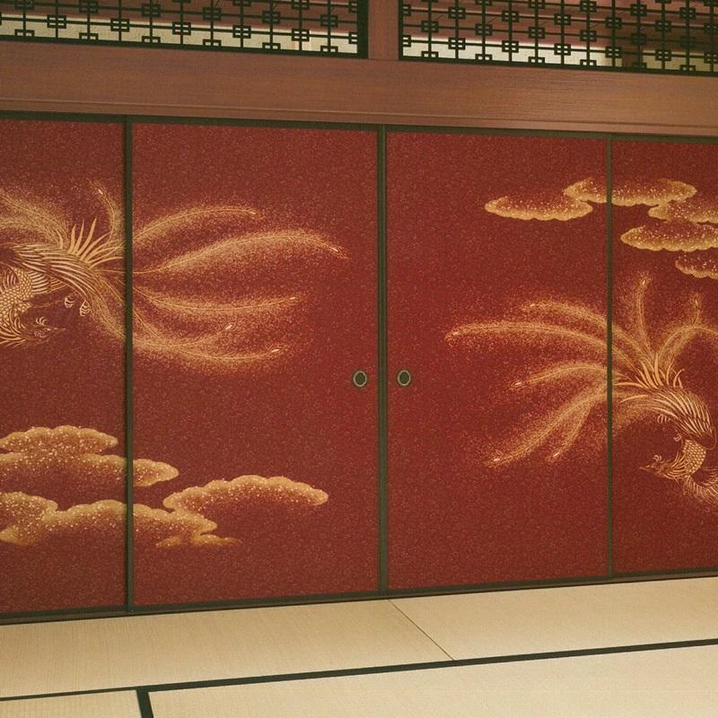 超高級ふすま紙 鳳凰図 4枚組 (襖紙/ふすま紙/襖絵/襖/ふすま/最高級/豪華/張替/通販)