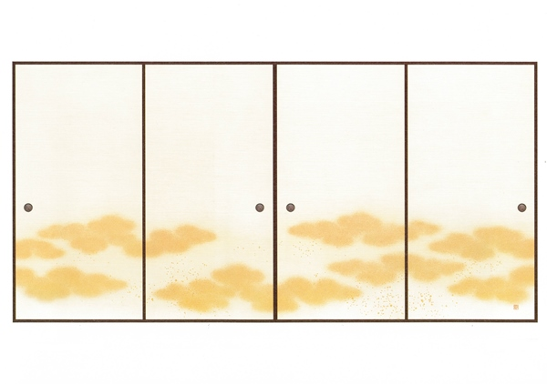 高級織物襖紙 天平瑞雲(てんぴょうずいうん) 4枚組 3間用 (襖/ふすま/ふすま紙/糸入り/金/幅広/通販)