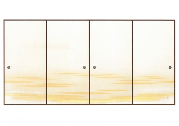 高級織物襖紙 明日香霞(あすかかすみ) 4枚組 3間用 (襖/ふすま/ふすま紙/糸入り/金/幅広/通販)