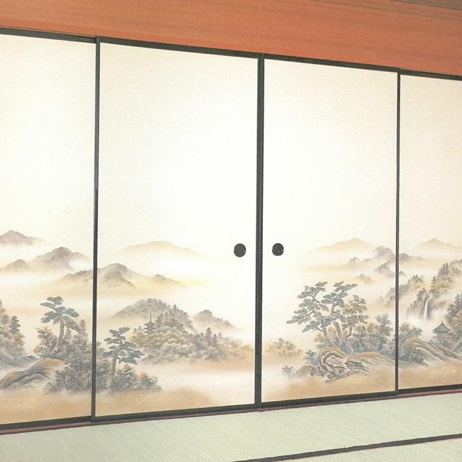 高級織物襖紙 山水画 4枚組 No.82 (襖/襖紙/ふすま/糸入り/織物/押入れ/張替)