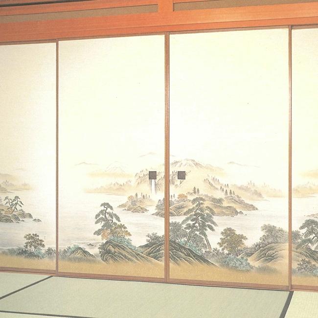 高級織物襖紙 山水画 4枚組 No.85 (襖/襖紙/ふすま/糸入り/織物/押入れ/張替)