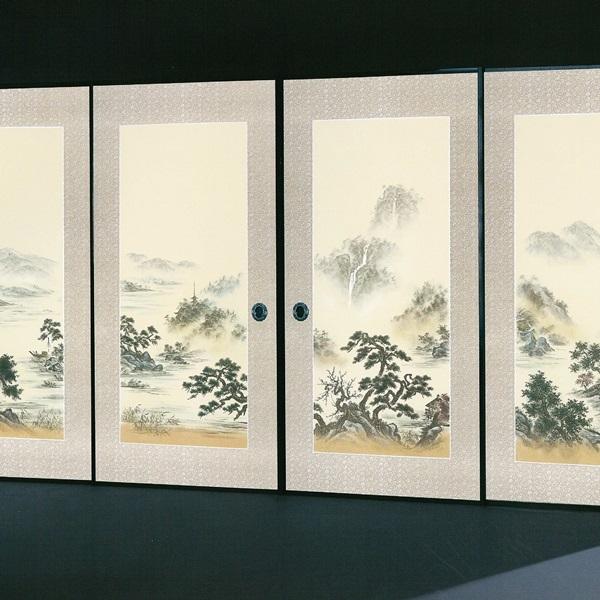 4枚組 高級襖紙 (襖/襖紙/ふすま/ふすま紙/糸入り/織物/押入れ/張替) 伝統手加工襖絵柄 No.160