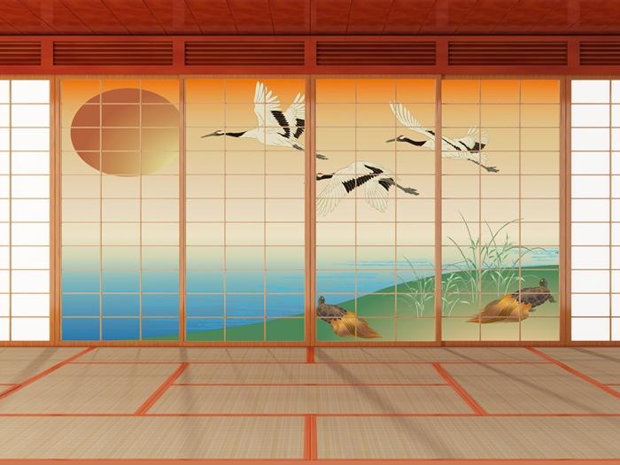 デザイン障子紙 鶴と亀 (しょうじ紙/カラー/豪華/柄/幸運/オシャレ/通販)