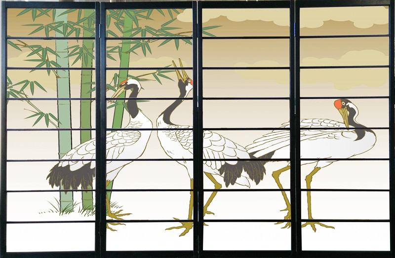オシャレなデザイン衝立 「鶴」 黒ヨコ桟 (衝立/間仕切り/屏風/パーテーション/おしゃれ/和風/ついたて/パーティション/和柄)