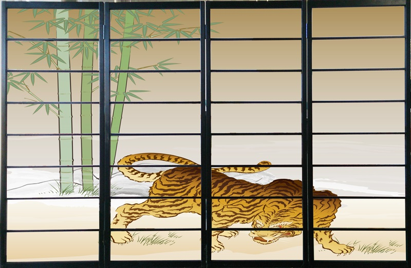 オシャレなデザイン衝立 「虎」 黒ヨコ桟 (衝立/間仕切り/屏風/パーテーション/おしゃれ/和風/ついたて/パーティション/和柄)