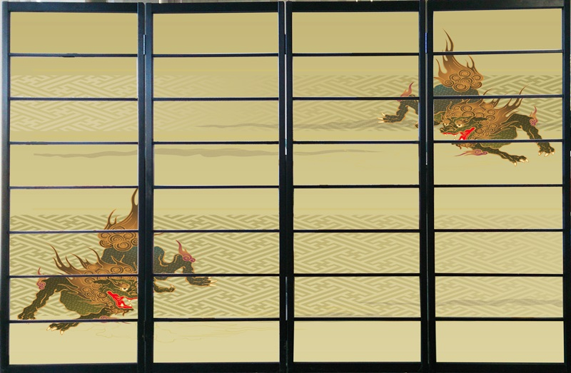 オシャレなデザイン衝立 「獅子」 黒ヨコ桟 (衝立/間仕切り/屏風/パーテーション/おしゃれ/和風/ついたて/パーティション/和柄)