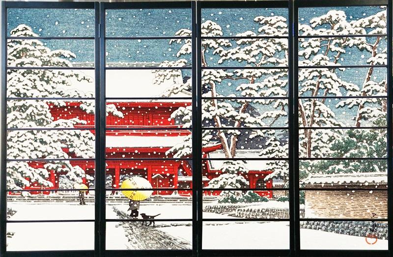 オシャレなデザイン衝立 「雪の増上寺」 黒ヨコ桟 (衝立/間仕切り/屏風/パーテーション/おしゃれ/和風/ついたて/パーティション/和柄)
