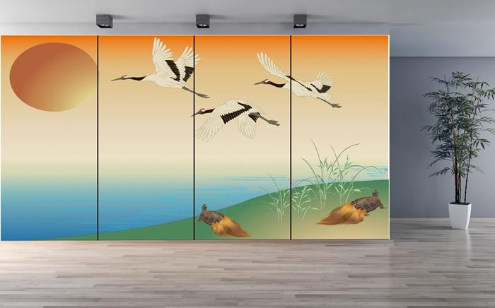 大迫力のデザイン壁紙 デザイン壁紙 鶴と亀 かべ紙 クロス 豪華 和風 張替 通販 幸運 トレンド 本物