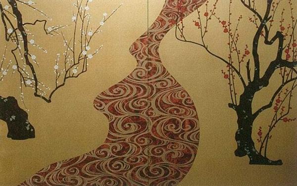 壁画風壁紙 紅白梅 (洋金箔) 裏面糊なし 幅184cm×高さ113cm (金かべ紙/クロス/張替/通販)
