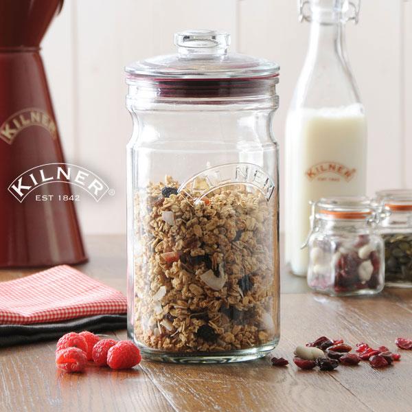 KILNER (Kilner) PUSHTOP STORAGE JAR 1.5 L (push top storage jars) (save bottle salad with plum fruit drink pickle jam source Messenger pun) [