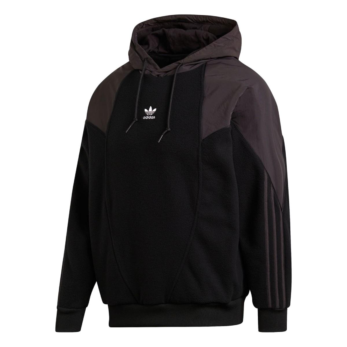 adidas BG TRF MIX HOODIE アディダス ビッグ トレフォイル ポーラーフリース ミックス フーディー BLACK ge0863