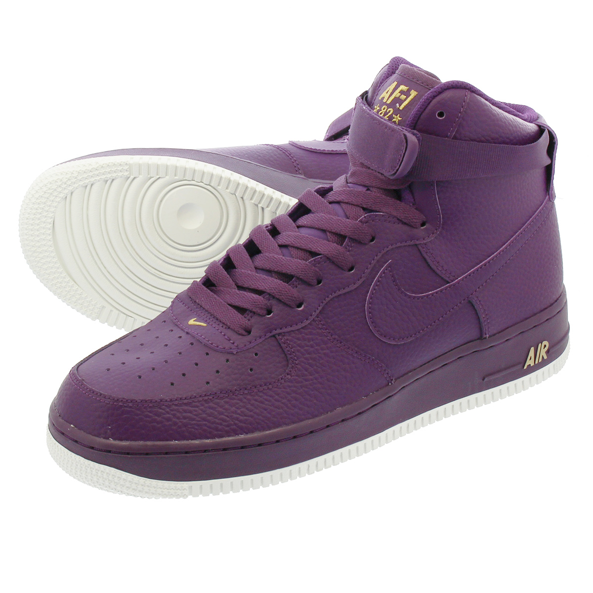 details for skate shoes united kingdom NIKE AIR FORCE 1 HIGH 07耐吉空軍1高07 NIGHT PURPLE/SUMMIT WHITE/METALLIC GOLD  315121-500